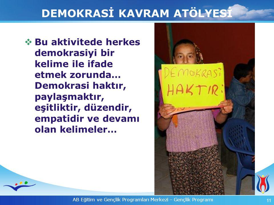 11 AB Eğitim ve Gençlik Programları Merkezi – Gençlik Programı DEMOKRASİ KAVRAM ATÖLYESİ  Bu aktivitede herkes demokrasiyi bir kelime ile ifade etmek