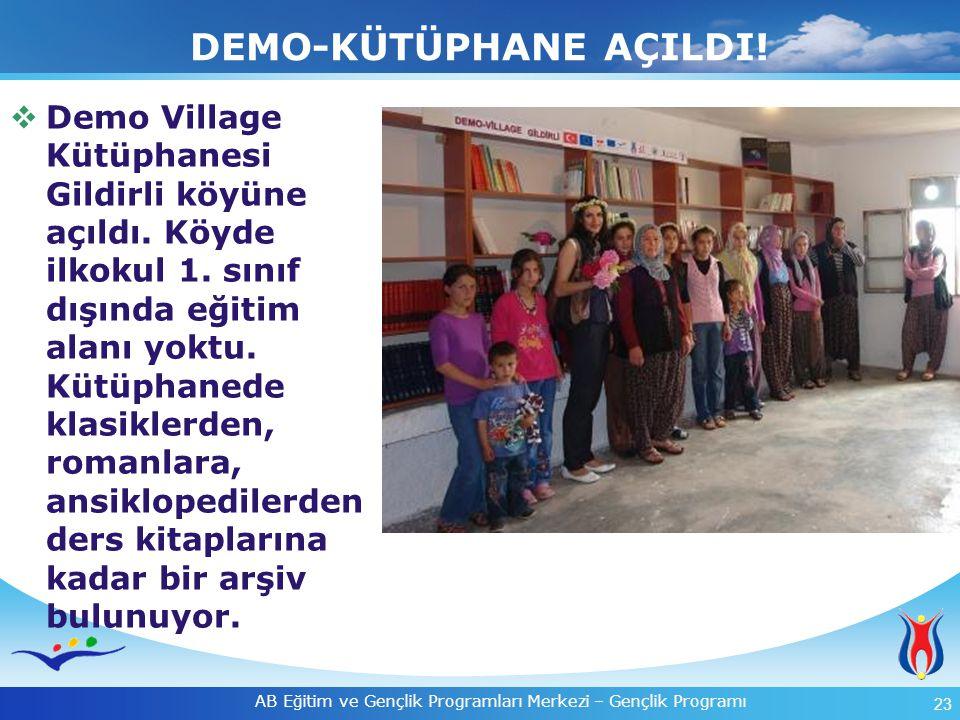 23 AB Eğitim ve Gençlik Programları Merkezi – Gençlik Programı DEMO-KÜTÜPHANE AÇILDI!  Demo Village Kütüphanesi Gildirli köyüne açıldı. Köyde ilkokul