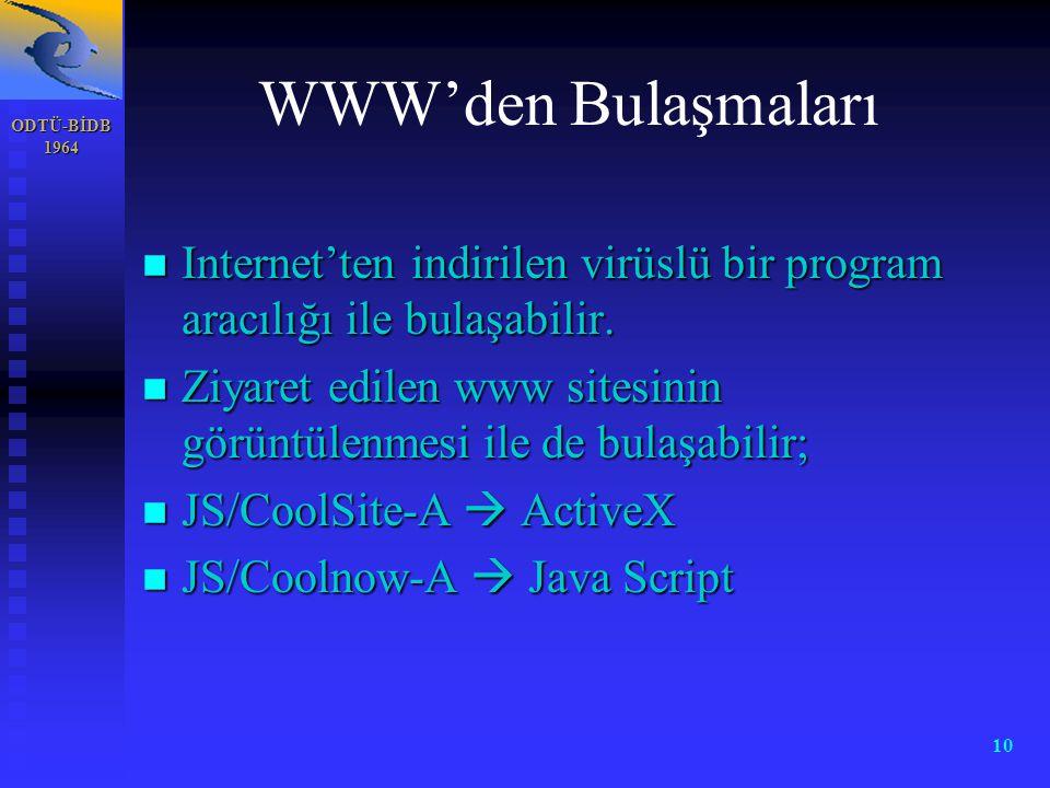 ODTÜ-BİDB 1964 10 WWW'den Bulaşmaları n Internet'ten indirilen virüslü bir program aracılığı ile bulaşabilir. n Ziyaret edilen www sitesinin görüntüle
