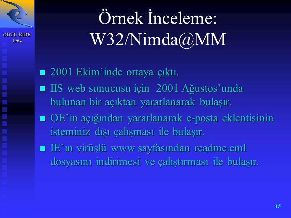 ODTÜ-BİDB 1964 15 Örnek İnceleme: W32/Nimda@MM n 2001 Ekim'inde ortaya çıktı. n IIS web sunucusu için 2001 Ağustos'unda bulunan bir açıktan yararlanar