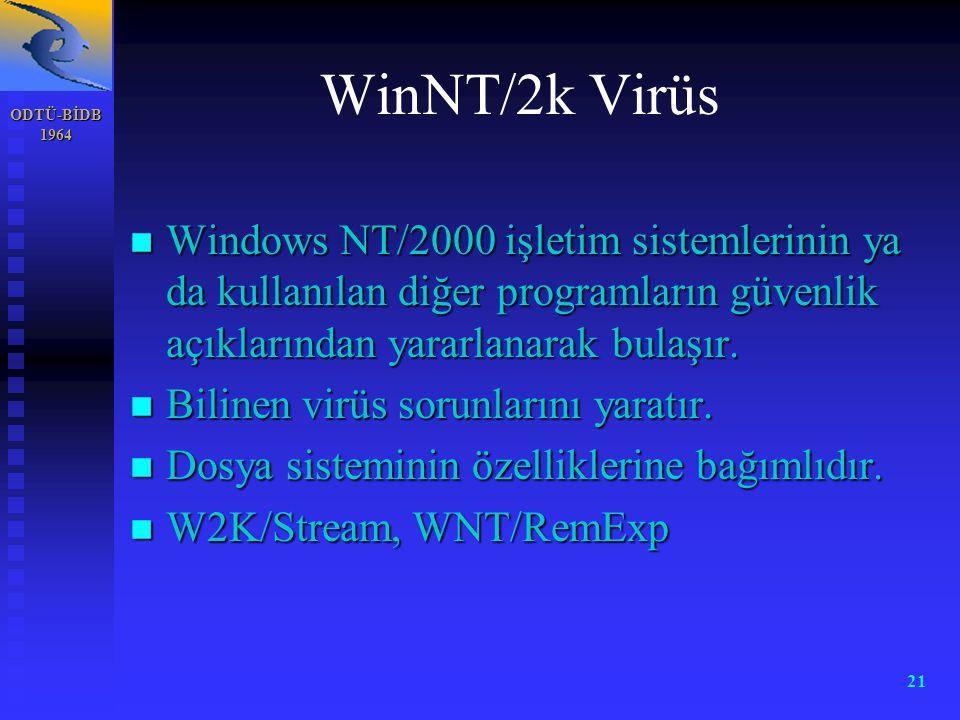 ODTÜ-BİDB 1964 21 WinNT/2k Virüs n Windows NT/2000 işletim sistemlerinin ya da kullanılan diğer programların güvenlik açıklarından yararlanarak bulaşı