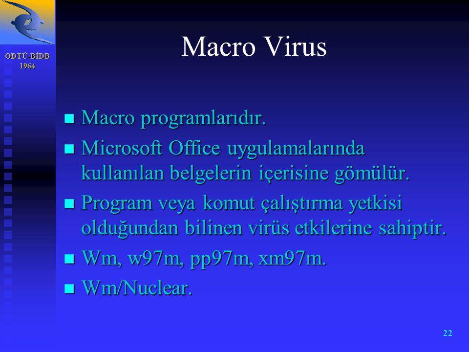 ODTÜ-BİDB 1964 22 Macro Virus n Macro programlarıdır. n Microsoft Office uygulamalarında kullanılan belgelerin içerisine gömülür. n Program veya komut