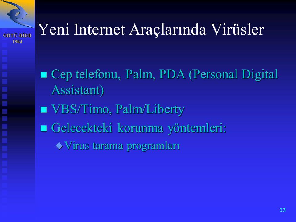 ODTÜ-BİDB 1964 23 Yeni Internet Araçlarında Virüsler n Cep telefonu, Palm, PDA (Personal Digital Assistant) n VBS/Timo, Palm/Liberty n Gelecekteki kor
