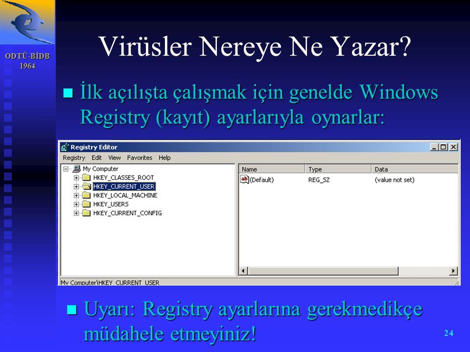 ODTÜ-BİDB 1964 24 Virüsler Nereye Ne Yazar? n İlk açılışta çalışmak için genelde Windows Registry (kayıt) ayarlarıyla oynarlar: n Uyarı: Registry ayar