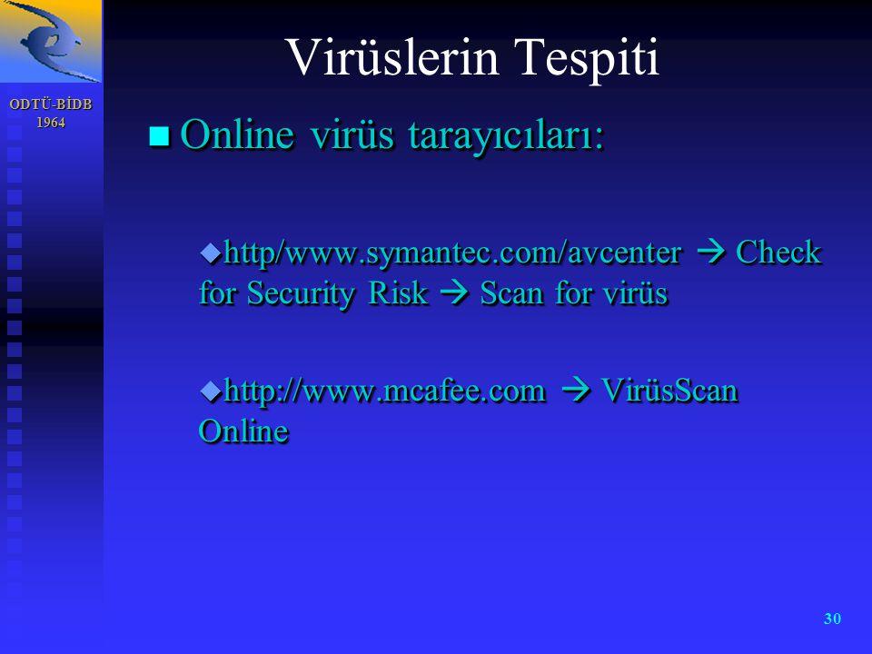 ODTÜ-BİDB 1964 30 n Online virüs tarayıcıları: u http/www.symantec.com/avcenter  Check for Security Risk  Scan for virüs u http://www.mcafee.com  V