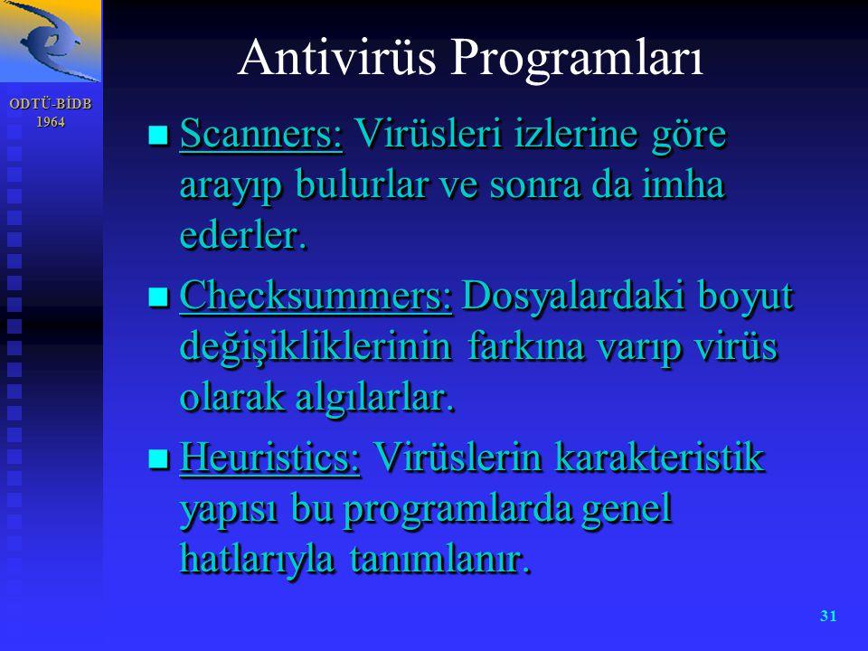 ODTÜ-BİDB 1964 31 n Scanners: Virüsleri izlerine göre arayıp bulurlar ve sonra da imha ederler. n Checksummers: Dosyalardaki boyut değişikliklerinin f