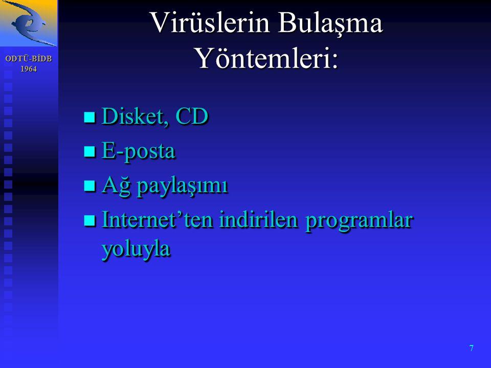 ODTÜ-BİDB 1964 7 n Disket, CD n E-posta n Ağ paylaşımı n Internet'ten indirilen programlar yoluyla n Disket, CD n E-posta n Ağ paylaşımı n Internet'ten indirilen programlar yoluyla Virüslerin Bulaşma Yöntemleri:
