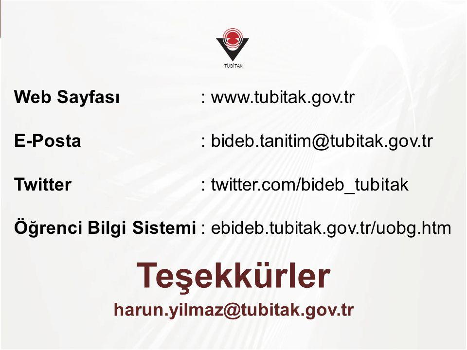 TÜBİTAK Teşekkürler harun.yilmaz@tubitak.gov.tr Web Sayfası: www.tubitak.gov.tr E-Posta: bideb.tanitim@tubitak.gov.tr Twitter: twitter.com/bideb_tubit