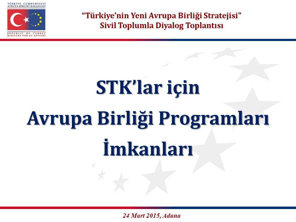 """""""Türkiye'nin Yeni Avrupa Birliği Stratejisi"""" Sivil Toplumla Diyalog Toplantısı STK'lar için Avrupa Birliği Programları İmkanları 24 Mart 2015, Adana"""