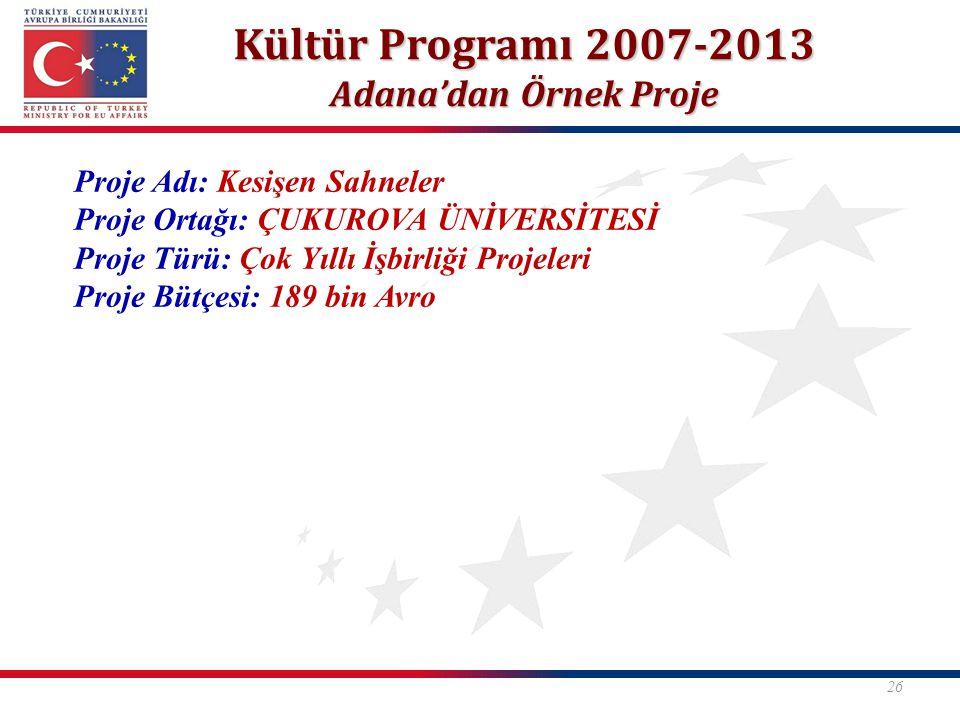 Kültür Programı 2007-2013 Adana'dan Örnek Proje 26 Proje Adı: Kesişen Sahneler Proje Ortağı: ÇUKUROVA ÜNİVERSİTESİ Proje Türü: Çok Yıllı İşbirliği Pro