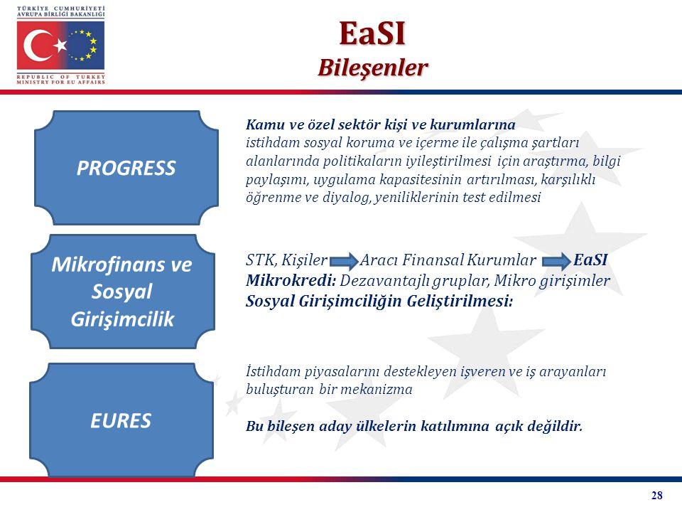 PROGRESS Mikrofinans ve Sosyal Girişimcilik EURES Kamu ve özel sektör kişi ve kurumlarına istihdam sosyal koruma ve içerme ile çalışma şartları alanla