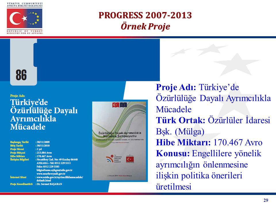 PROGRESS 2007-2013 Örnek Proje Proje Adı: Türkiye'de Özürlülüğe Dayalı Ayrımcılıkla Mücadele Türk Ortak: Özürlüler İdaresi Bşk. (Mülga) Hibe Miktarı: