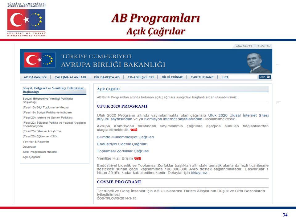 AB Programları Açık Çağrılar 34