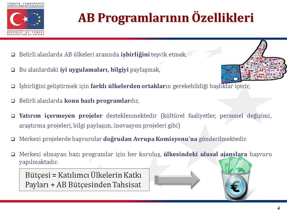 2007-1013 Dönemi AB Programları Hayatboyu Öğrenme Kültür Rekabet Edebilirlik ve Yenilik Progress Gençlik Kültür Başkentleri Fiscalis 2013 Gümrük 2013 7.
