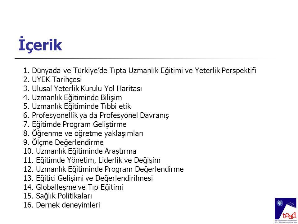 İçerik 1. Dünyada ve Türkiye'de Tıpta Uzmanlık Eğitimi ve Yeterlik Perspektifi 2. UYEK Tarihçesi 3. Ulusal Yeterlik Kurulu Yol Haritası 4. Uzmanlık Eğ