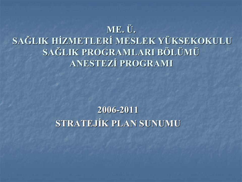 ME. Ü. SAĞLIK HİZMETLERİ MESLEK YÜKSEKOKULU SAĞLIK PROGRAMLARI BÖLÜMÜ ANESTEZİ PROGRAMI 2006-2011 STRATEJİK PLAN SUNUMU
