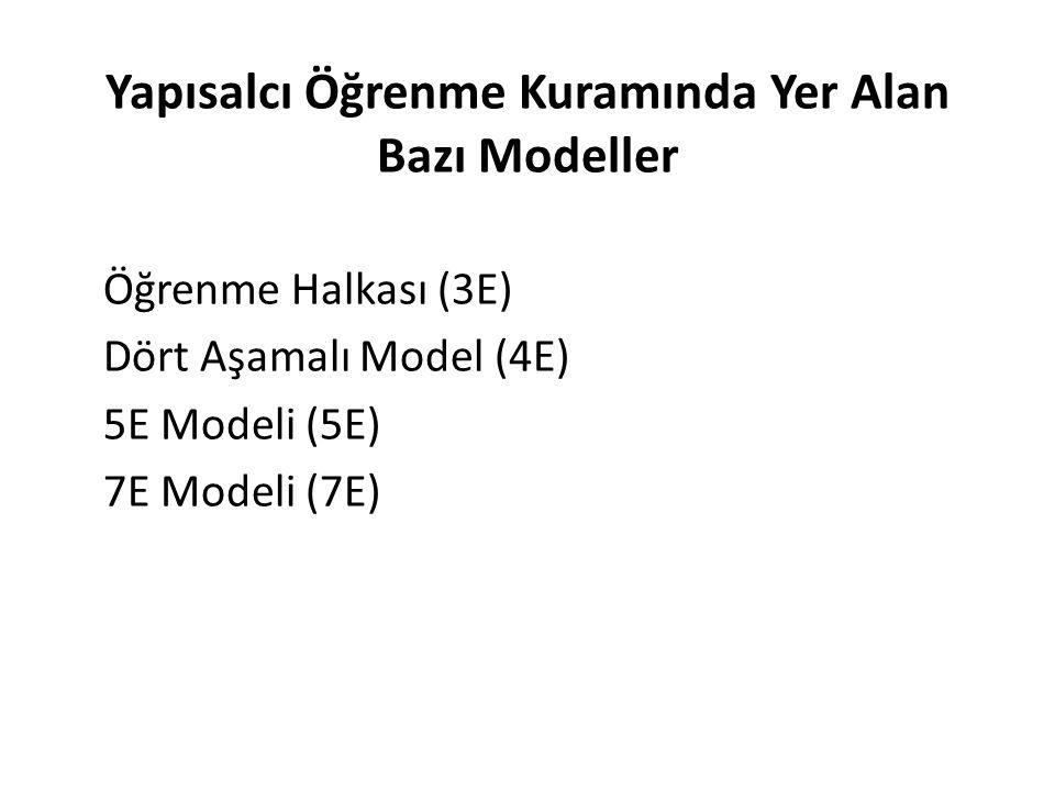 Yapısalcı Öğrenme Kuramında Yer Alan Bazı Modeller Öğrenme Halkası (3E) Dört Aşamalı Model (4E) 5E Modeli (5E) 7E Modeli (7E)