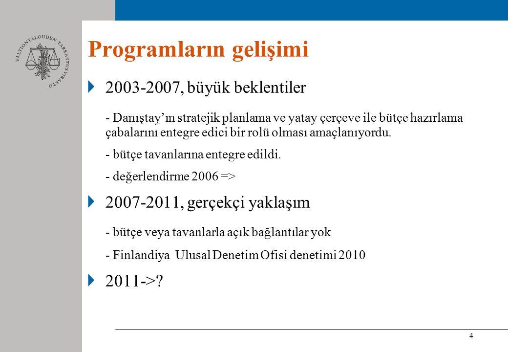 4 Programların gelişimi 2003-2007, büyük beklentiler - Danıştay'ın stratejik planlama ve yatay çerçeve ile bütçe hazırlama çabalarını entegre edici bir rolü olması amaçlanıyordu.