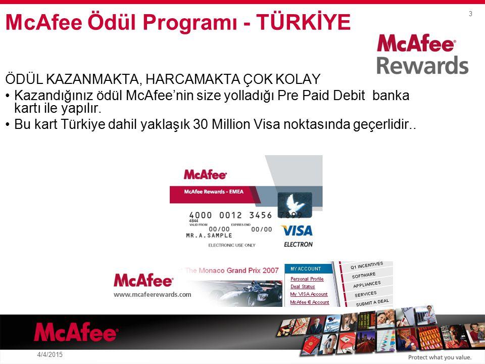 3 4/4/2015 ÖDÜL KAZANMAKTA, HARCAMAKTA ÇOK KOLAY Kazandığınız ödül McAfee'nin size yolladığı Pre Paid Debit banka kartı ile yapılır.