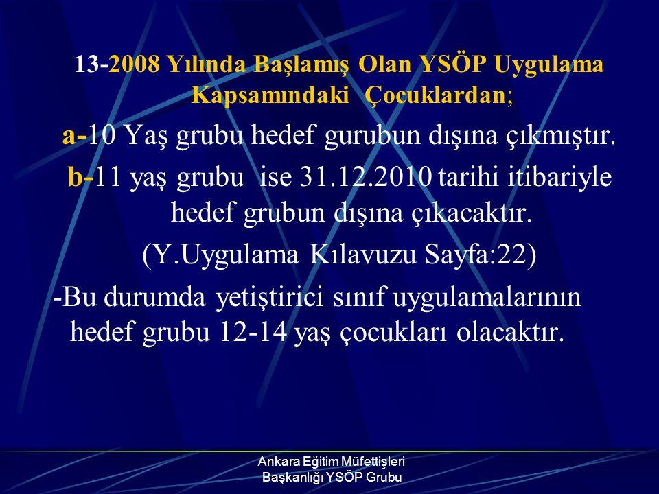 Ankara Eğitim Müfettişleri Başkanlığı YSÖP Grubu 13-2008 Yılında Başlamış Olan YSÖP Uygulama Kapsamındaki Çocuklardan; a-10 Yaş grubu hedef gurubun dı