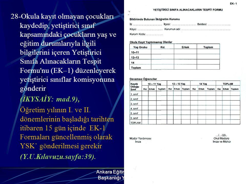Ankara Eğitim Müfettişleri Başkanlığı YSÖP Grubu 28-Okula kayıt olmayan çocukları kaydedip, yetiştirici sınıf kapsamındaki çocukların yaş ve eğitim du