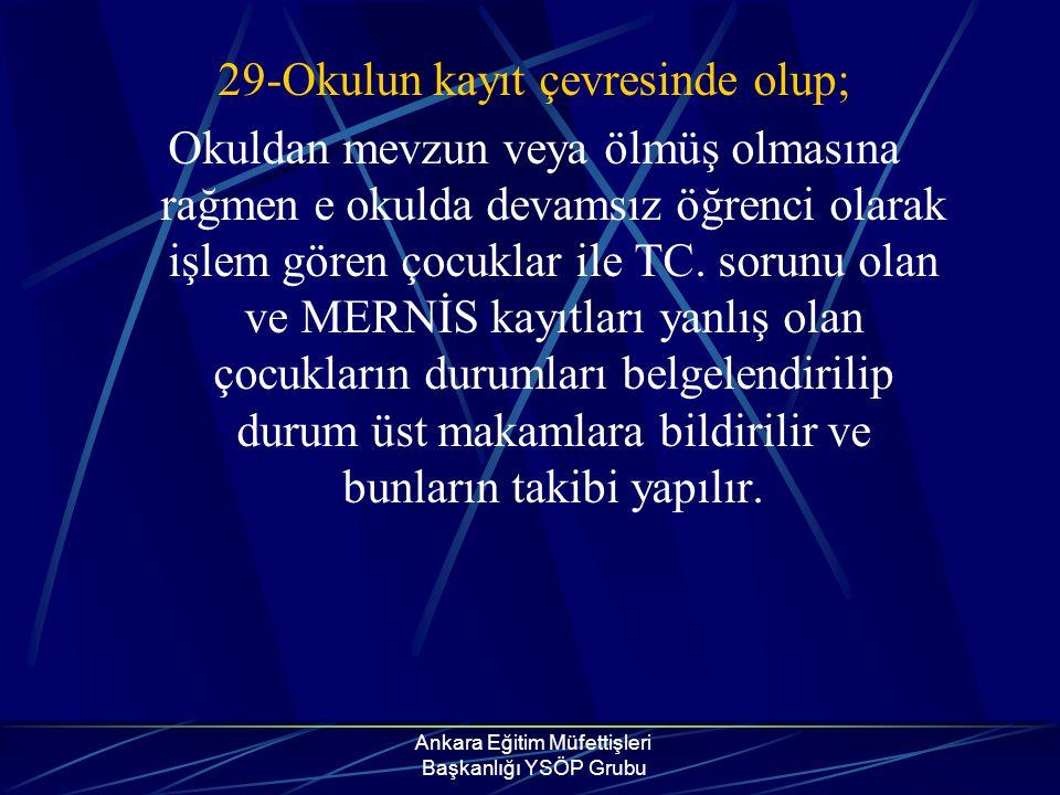 Ankara Eğitim Müfettişleri Başkanlığı YSÖP Grubu 29-Okulun kayıt çevresinde olup; Okuldan mevzun veya ölmüş olmasına rağmen e okulda devamsız öğrenci