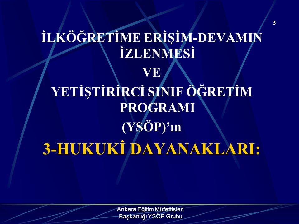 Ankara Eğitim Müfettişleri Başkanlığı YSÖP Grubu 3 İLKÖĞRETİME ERİŞİM-DEVAMIN İZLENMESİ VE YETİŞTİRİRCİ SINIF ÖĞRETİM PROGRAMI (YSÖP)'ın 3-HUKUKİ DAYA