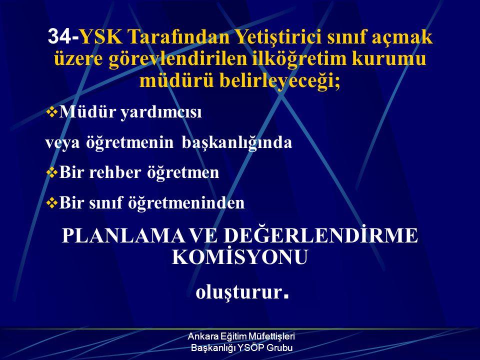 Ankara Eğitim Müfettişleri Başkanlığı YSÖP Grubu 34- YSK Tarafından Yetiştirici sınıf açmak üzere görevlendirilen ilköğretim kurumu müdürü belirleyece