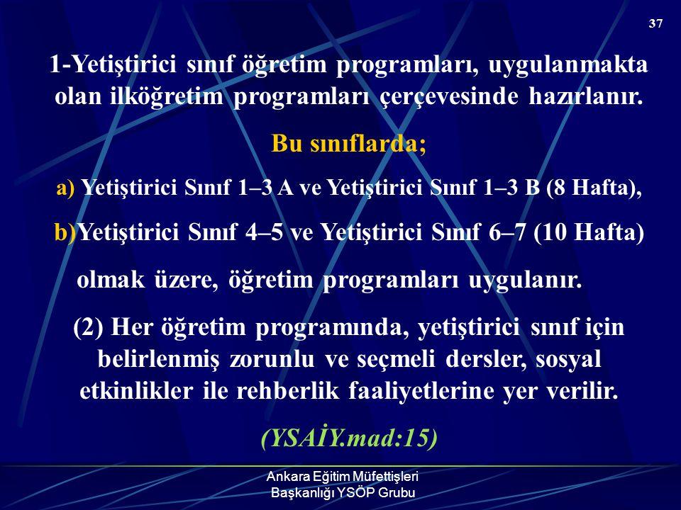 Ankara Eğitim Müfettişleri Başkanlığı YSÖP Grubu 37 1-Yetiştirici sınıf öğretim programları, uygulanmakta olan ilköğretim programları çerçevesinde haz