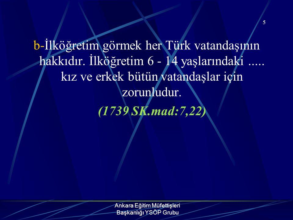 Ankara Eğitim Müfettişleri Başkanlığı YSÖP Grubu 5 b-İlköğretim görmek her Türk vatandaşının hakkıdır. İlköğretim 6 - 14 yaşlarındaki..... kız ve erke
