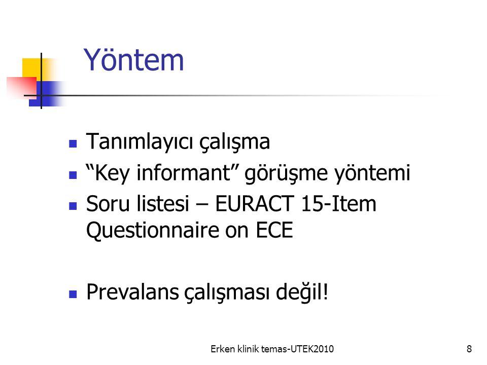 Erken klinik temas-UTEK20108 Yöntem Tanımlayıcı çalışma Key informant görüşme yöntemi Soru listesi – EURACT 15-Item Questionnaire on ECE Prevalans çalışması değil!