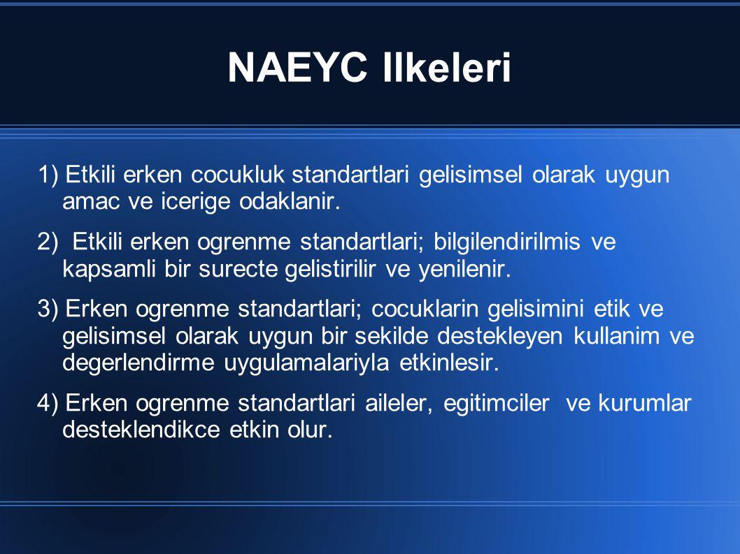 NAEYC Ilkeleri 1) Etkili erken cocukluk standartlari gelisimsel olarak uygun amac ve icerige odaklanir. 2) Etkili erken ogrenme standartlari; bilgilen