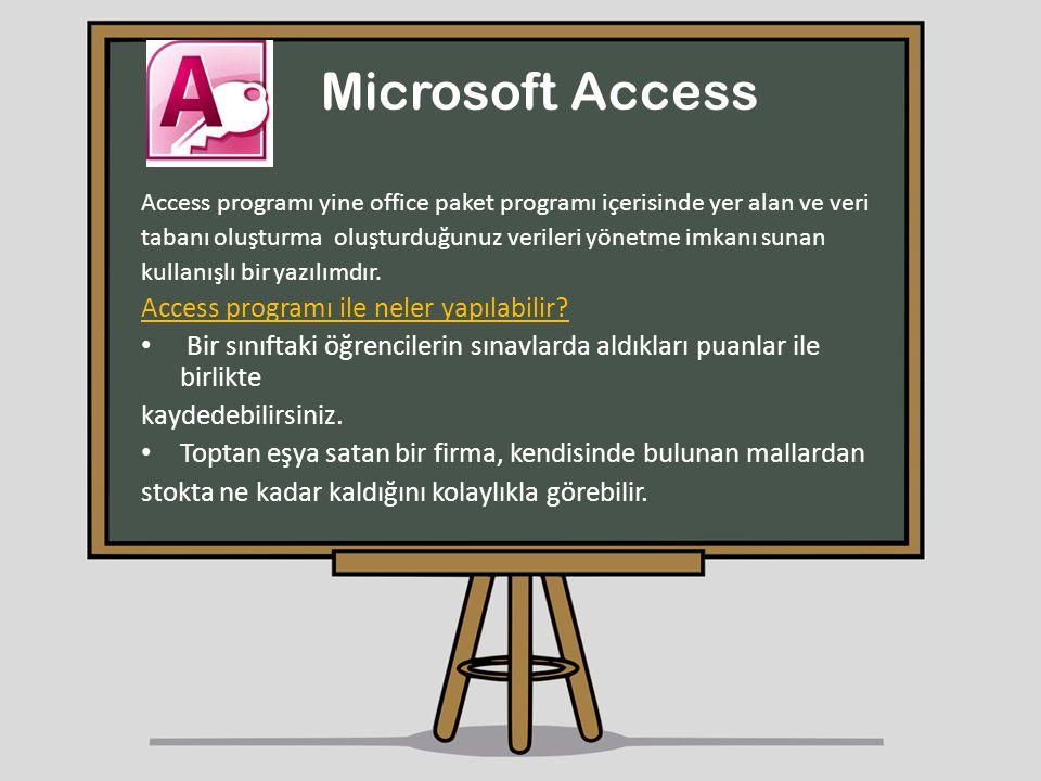 Microsoft Access Access programı yine office paket programı içerisinde yer alan ve veri tabanı oluşturma oluşturduğunuz verileri yönetme imkanı sunan
