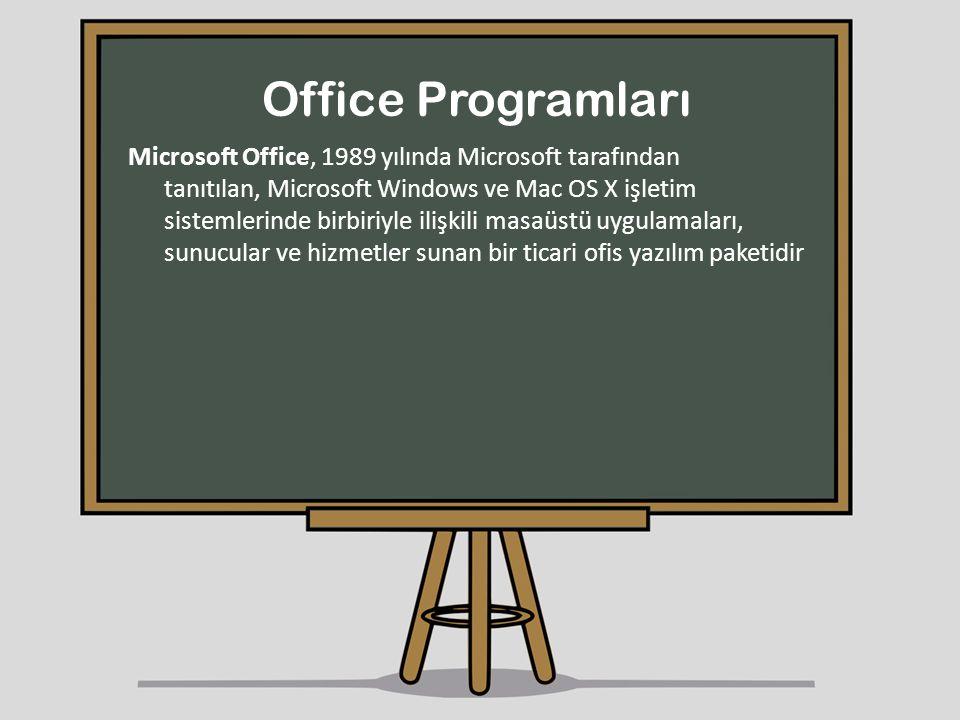 Office Programları Microsoft Office, 1989 yılında Microsoft tarafından tanıtılan, Microsoft Windows ve Mac OS X işletim sistemlerinde birbiriyle ilişk