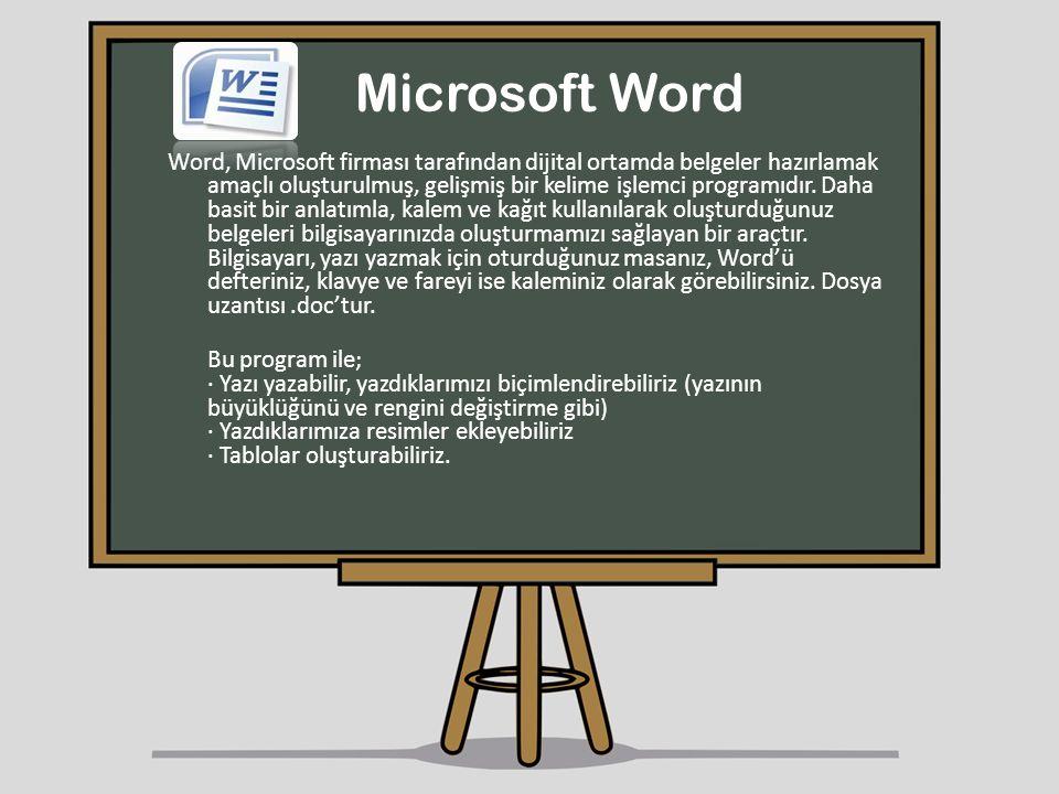 Microsoft Word Word, Microsoft firması tarafından dijital ortamda belgeler hazırlamak amaçlı oluşturulmuş, gelişmiş bir kelime işlemci programıdır. Da