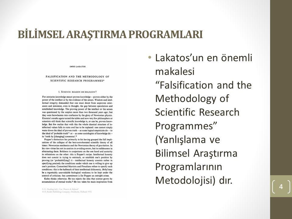 BİLİMSEL ARAŞTIRMA PROGRAMLARI Lakatos'un en önemli makalesi Falsification and the Methodology of Scientific Research Programmes (Yanlışlama ve Bilimsel Araştırma Programlarının Metodolojisi) dır.
