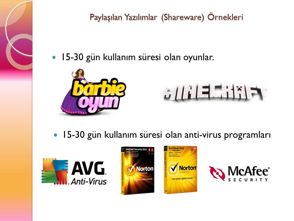 Paylaşılan Yazılımlar (Shareware) Örnekleri 15-30 gün kullanım süresi olan oyunlar. 15-30 gün kullanım süresi olan anti-virus programları