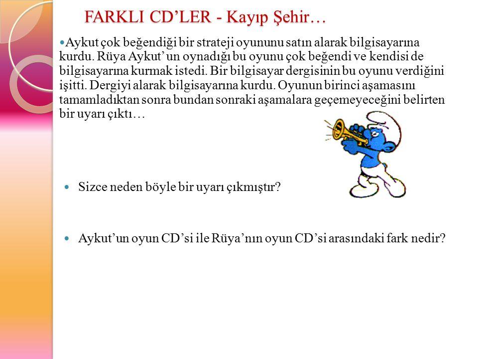 FARKLI CD'LER - Kayıp Şehir… Aykut çok beğendiği bir strateji oyununu satın alarak bilgisayarına kurdu. Rüya Aykut' un oynadığı bu oyunu çok beğendi v