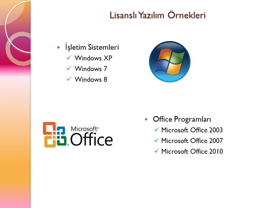 Lisanslı Yazılım Örnekleri İ şletim Sistemleri Windows XP Windows 7 Windows 8 Office Programları Microsoft Office 2003 Microsoft Office 2007 Microsoft