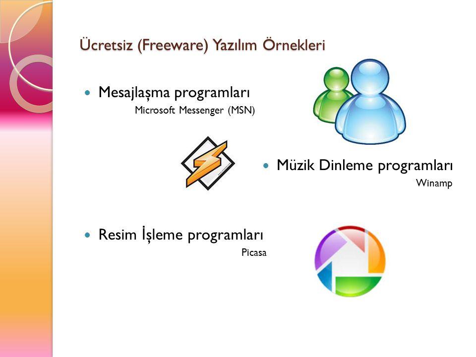 Ücretsiz ( Freeware) Yazılım Örnekleri Mesajlaşma programları Microsoft Messenger (MSN) Müzik Dinleme programları Winamp Resim İ şleme programları Pic