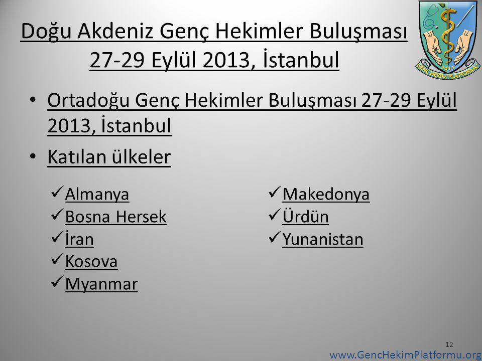 Doğu Akdeniz Genç Hekimler Buluşması 27-29 Eylül 2013, İstanbul Ortadoğu Genç Hekimler Buluşması 27-29 Eylül 2013, İstanbul Katılan ülkeler 12 Almanya Bosna Hersek İran Kosova Myanmar Makedonya Ürdün Yunanistan