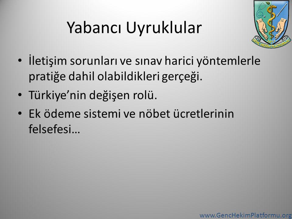 www.GencHekimPlatformu.org Yabancı Uyruklular İletişim sorunları ve sınav harici yöntemlerle pratiğe dahil olabildikleri gerçeği. Türkiye'nin değişen