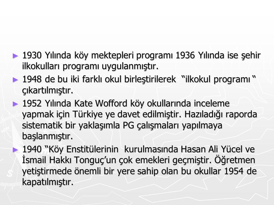 """► 1930 Yılında köy mektepleri programı 1936 Yılında ise şehir ilkokulları programı uygulanmıştır. ► 1948 de bu iki farklı okul birleştirilerek """"ilkoku"""