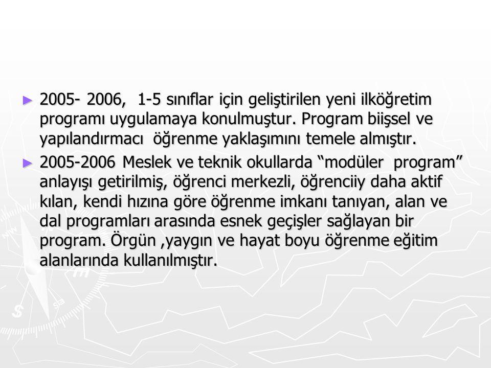 ► 2005- 2006, 1-5 sınıflar için geliştirilen yeni ilköğretim programı uygulamaya konulmuştur. Program biişsel ve yapılandırmacı öğrenme yaklaşımını te