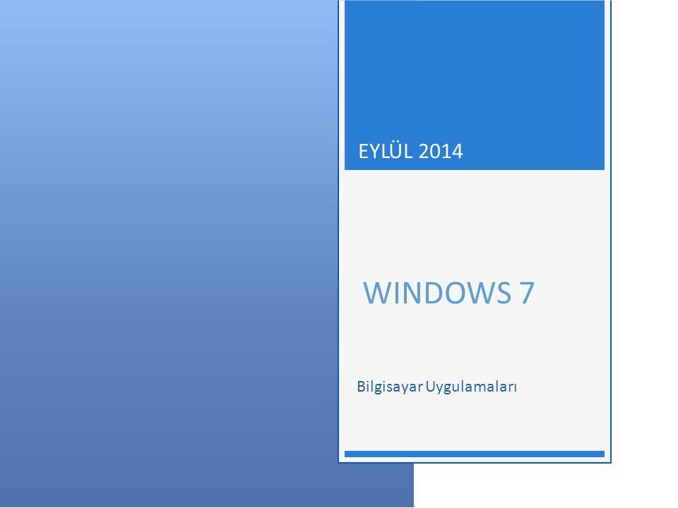 WINDOWS 7 - EYLÜL 2014 Başlat Menüsünü Kişiselleştirmek  Bu pencere kullanılarak;  Özelleştir düğmesi ile bağlantıların, simgelerin ve menülerin görünüm ve davranışları özelleştirilir,  Güç düğmesinin varsayılan olarak hangi işlevi (Uyku, Kapat, Kilitle, Yeniden Başlat vb.) yerine getireceği seçilir,  Son açılan programların başlat menüsünde depolanması için seçenek seçilir,  Son açılan öğelerin başlat menüsünde depolanması için seçenek seçilir.