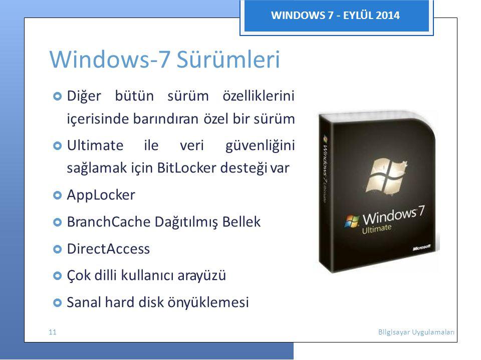WINDOWS 7 - EYLÜL 2014 Windows-7 Sürümleri  Diğer bütün sürüm özelliklerini içerisinde barındıran özel bir sürüm  Ultimate ile veri güvenliğini sağlamak için BitLocker desteği var  AppLocker  BranchCache Dağıtılmış Bellek  DirectAccess  Çok dilli kullanıcı arayüzü  Sanal hard disk önyüklemesi 11 Bilgisayar Uygulamaları