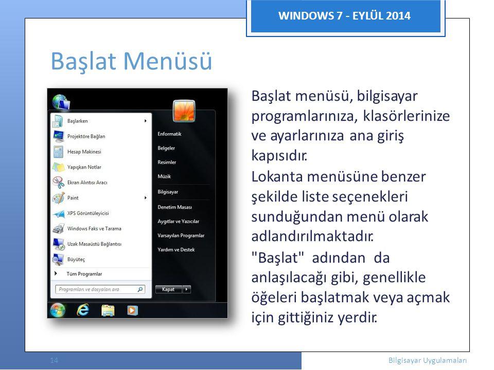  WINDOWS 7 - EYLÜL 2014 Başlat Menüsü Başlat menüsü, bilgisayar programlarınıza, klasörlerinize ve ayarlarınıza ana giriş kapısıdır.