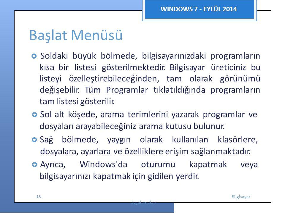 WINDOWS 7 - EYLÜL 2014 Başlat Menüsü  Soldaki büyük bölmede, bilgisayarınızdaki programların kısabir listesi gösterilmektedir. Bilgisayar üreticiniz