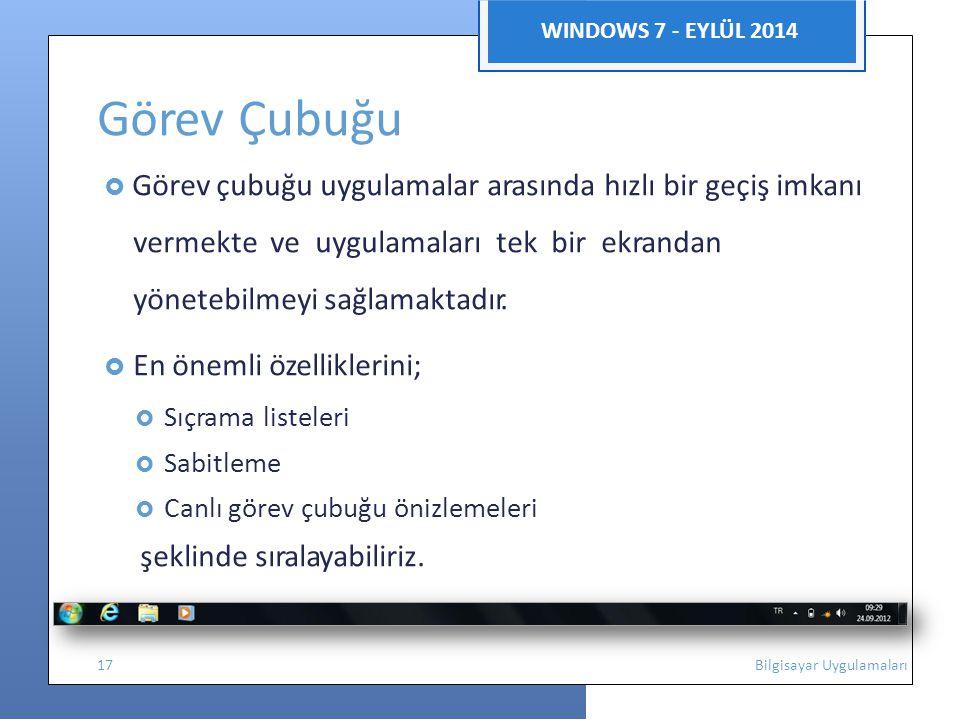 WINDOWS 7 - EYLÜL 2014 Görev Çubuğu  Görev çubuğu uygulamalar arasında hızlı bir geçiş imkanı vermekte ve uygulamaları tek bir ekrandan yönetebilmeyi