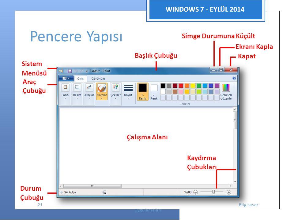 WINDOWS 7 - EYLÜL 2014 Ekranı Kapla Sistem Pencere Yapısı Simge Durumuna Küçült Başlık Çubuğu Kapat Menüsü Araç Çubuğu Çalışma Alanı Kaydırma Çubukları Durum Çubuğu 21 Bilgisayar Uygulamaları